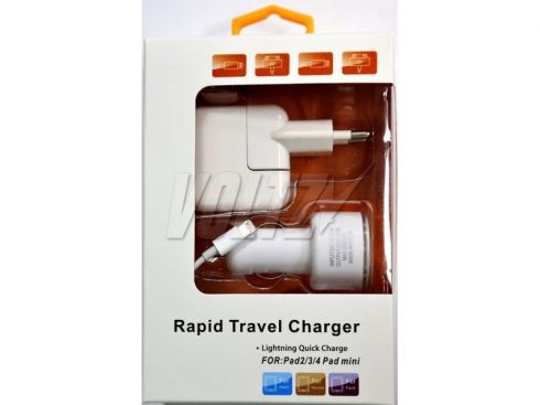 ЗУ Rapid Travel Charger 3в1 для iPhone 5/6/7 (АЗУ + СЗУ + USB кабель Lightning IOS10) узкий